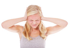 Young woman suffers from headache Royalty Free Stock Images