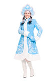 Young woman in a suit of snow maiden Stock Photos