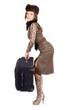 Young woman with a suitcase Stock Photos