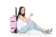 Young woman with suitcase. Stock Photography