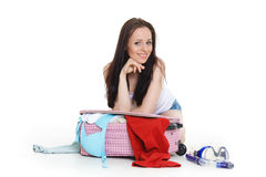 Young woman with suitcase. Stock Images