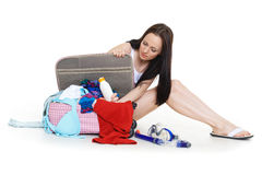 Young woman with suitcase. Royalty Free Stock Photography