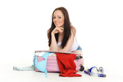 Young woman with suitcase. Royalty Free Stock Photos