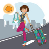 Young  woman with suitcase Stock Photography