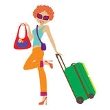 Young  woman with suitcase Royalty Free Stock Image