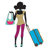 Young  woman with suitcase Royalty Free Stock Images