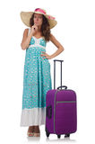 Young woman with suitcase isolated on white Stock Photo