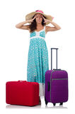 Young woman with suitcase isolated on white Royalty Free Stock Images