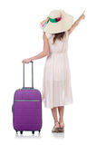 Young woman with suitcase isolated on white Royalty Free Stock Photos