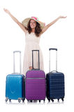 Young woman with suitcase isolated on white Royalty Free Stock Photo