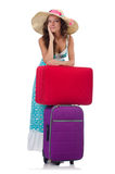 Young woman with suitcase isolated on white. Young woman with  suitcase  on white Stock Images