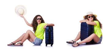 The young woman with suitcase isolated on white Stock Photography