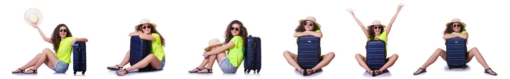The young woman with suitcase isolated on white Stock Image