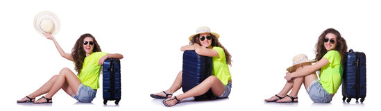 The young woman with suitcase isolated on white Royalty Free Stock Photos