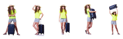 The young woman with suitcase isolated on white Royalty Free Stock Image