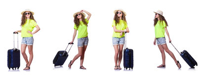 The young woman with suitcase isolated on white Royalty Free Stock Photography