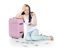 Young woman with suitcase. Stock Photos