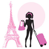 Young  woman with suitcase in Paris Stock Photography