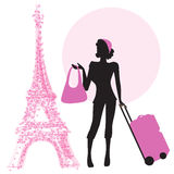 Young  woman with suitcase in Paris Stock Photos