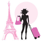 Young  woman with suitcase in Paris Stock Photo