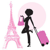 Young  woman with suitcase in Paris Royalty Free Stock Images