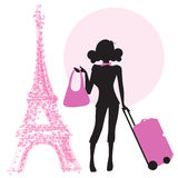 Young  woman with suitcase in Paris Royalty Free Stock Image