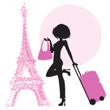 Young  woman with suitcase in Paris Stock Image