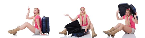 The young woman with suitcase ready for beach holiday Stock Photos