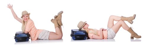 The young woman with suitcase ready for beach holiday Royalty Free Stock Image
