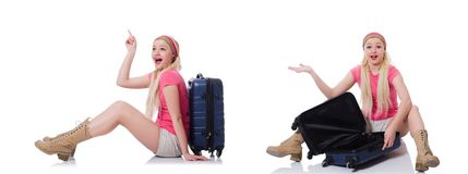 The young woman with suitcase ready for beach holiday Royalty Free Stock Photography