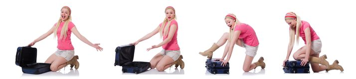 The young woman with suitcase ready for beach holiday Royalty Free Stock Photo