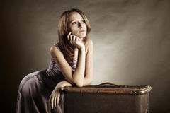 Young woman with suitcase Royalty Free Stock Photo