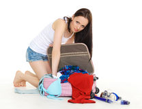 Young woman with suitcase. Royalty Free Stock Image