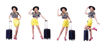 The young woman with suitcase on white Stock Photos