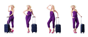 The young woman with suitcase on white Royalty Free Stock Images