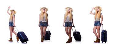 The young woman with suitcase on white Royalty Free Stock Photo