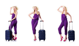 The young woman with suitcase on white Royalty Free Stock Photography
