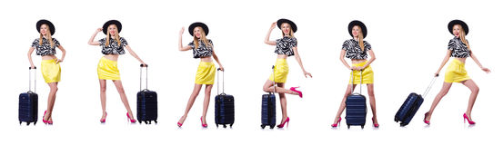 The young woman with suitcase on white Stock Image