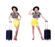The young woman with suitcase on white Royalty Free Stock Image