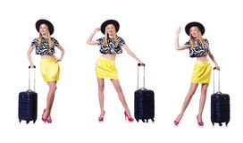 The young woman with suitcase on white. Young woman with suitcase on white Royalty Free Stock Image