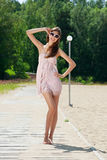 Young woman in summer dress Stock Photos
