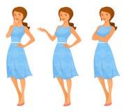 Young woman in summer dress. Cartoon illustration of a young woman in summer dress, in various poses Stock Photos