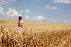 Young woman in summer dress walking in wheat field Stock Photo