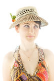Young woman in summer hat looking up Stock Photos