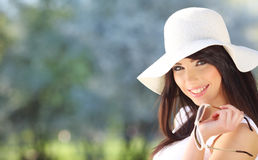 Young woman in summer park. Royalty Free Stock Photos