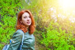 Young woman with summer tree. royalty free stock photography