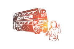 Young woman on summer trip, tourist holding Great Britain flag, double decker bus, british culture exploration. Holiday travel to London, vacation concept royalty free illustration