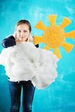 Young woman with sun and cloud Royalty Free Stock Photography