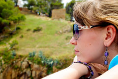 Young woman with sun glasses Royalty Free Stock Image