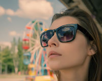 Young woman in the sun wearing eyeglasses Royalty Free Stock Photo
